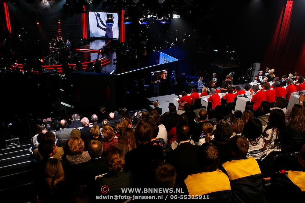 NLD/Hilversum/20100121 - Benefietactie voor het door een aardbeving getroffen Haiti, overzicht studio