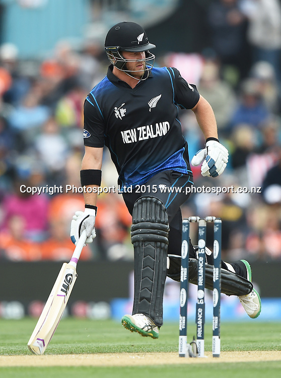Corey Anderson during the ICC Cricket World Cup match between New Zealand and Sri Lanka at Hagley Oval in Christchurch, New Zealand. Saturday 14 February 2015. Copyright Photo: Andrew Cornaga / www.Photosport.co.nz