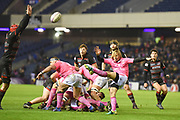 Box kick from Charl McLeod during the European Rugby Challenge Cup match between Edinburgh Rugby and Stade Francais at Murrayfield Stadium, Edinburgh, Scotland on 12 January 2018. Photo by Kevin Murray.