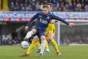 AFC Wimbledon midfielder Anthony Hartigan (8) battles for possession with Southend United attacker Harry Bunn (30) during the EFL Sky Bet League 1 match between Southend United and AFC Wimbledon at Roots Hall, Southend, England on 16 March 2019.