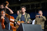 Damon Albarn with The Orchestra of Syrian Musicians on the Pyramid Stage on day 1 of Glastonbury Festival Friday 24, 2016.