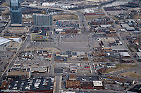 Aerial photo showing the site for the new Nashville Music City Center.