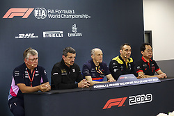 August 30, 2019, Spa-Francorchamps, Belgium: Motorsports: FIA Formula One World Championship 2019, Grand Prix of Belgium, ..Otmar Szafnauer (ROU, Racing Point F1 Team), Guenther Steiner (ITA, Haas F1 Team), Franz Tost (AUT, Red Bull Toro Rosso Honda), Cyril Abiteboul (FRA, Renault F1 Team), Toyoharu Tanabe (Honda) (Credit Image: © Hoch Zwei via ZUMA Wire)