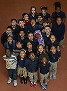 Students pose for a photograph at Walnut Bend Elementary School, January 26, 2017.