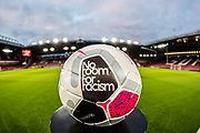 A picture of the match ball with No Room For Racism ahead of the Premier League match between Sheffield United and Arsenal at Bramall Lane, Sheffield, England on 21 October 2019.