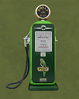 An isolated  Poly gas station pump. The level of detail in this piece is simply astonishing, particularly in terms of the Shell Gasoline pump.<br />
