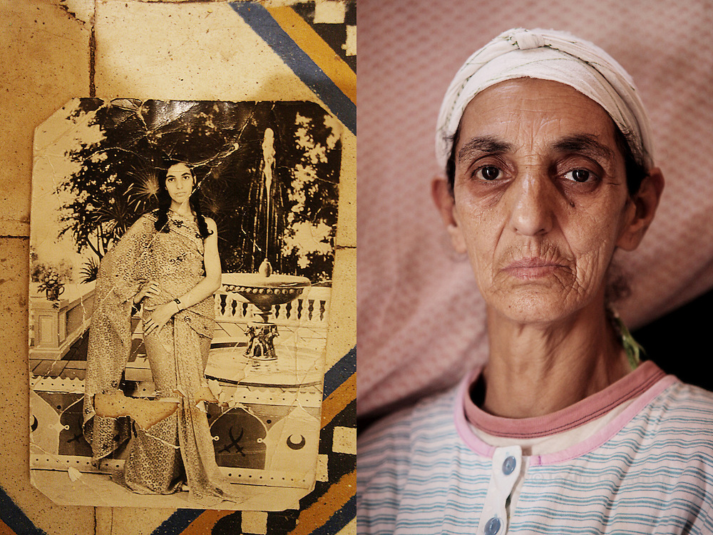 Fatima, mother of Rachida, photographed at the age of 20 years and now at 60 years old -  She had to raise her 3 children after her husband died from illness. She sells cigarettes for a living in Bab Doukala district Marrakech - June 2013