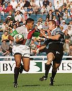 1997 Heineken European Cup  Quins vs Cardiff, left Quins' Johnny Ngaumo hands of a Cardiff player Heineken European Cup  © Peter Spurrier [Mandatory Credit Peter Spurrier/ Intersport Images]
