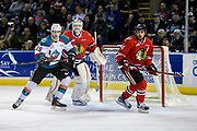 KELOWNA, CANADA - APRIL 08:  Kelowna Rockets center Tomas Soustal #15, Portland Winterhawks goalie Cole Kehler #31, Portland Winterhawks defenseman Keoni Texeira #44 at the Kelowna Rockets game on April 08, 2017 at Prospera Place in Kelowna, British Columbia, Canada.  (Photo By Cindy Rogers/Nyasa Photography,  *** Local Caption ***