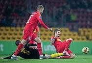 Kian Hansen (FC Nordsjælland) vinder tackling med André Rømer (Randers FC) under kampen i 3F Superligaen mellem FC Nordsjælland og Randers FC den 22. november 2019 i Right to Dream Park (Foto: Claus Birch).
