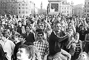 Shouting protesters, 1st Criminal Justice March, Trafalgar Square, London, UK, 1st of May 1994.