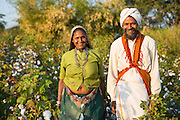 A portrait of Sheela and her husband Manga on their organic cotton farm in  Sendhwa, India.<br /> <br /> Sheela and Manga have recently converted to organic cotton farming with help from the Aga Khan Foundation who are working in partnership with the C&A Foundation.