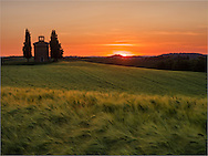 Sunset at the chapel of Our Lady of Vitaleta near San Quirico d'Orcia in Tuscany.