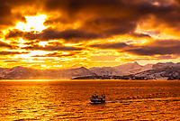 Fishing boat along the coastline near Gildeskal, (between Ornes and Bodo) north of the Arctic Circle, in Northern Norway.