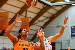 21-11-2018 NED: Netherlands - Bulgaria, Amsterdam<br /> Qualify FIBA Women's EuroBasket 2019 at Sporthallen Zuid Amsterdam / Group Phase Group F, Final Score 89-68 / Janis Ndiba Boonstra #0 of Netherlands, Radostina Dimitrova #13 of Bulgaria