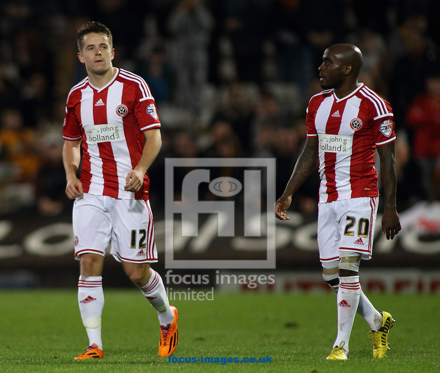 Marc McNulty (L) of Sheffield United  celebrates scoring the 2nd goal against Bradford City during the Sky Bet League 1 match at the Coral Windows Stadium, Bradford<br /> Picture by Stephen Gaunt/Focus Images Ltd +447904 833202<br /> 18/10/2014