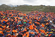 Dump for refugee life jacket on Lesvos