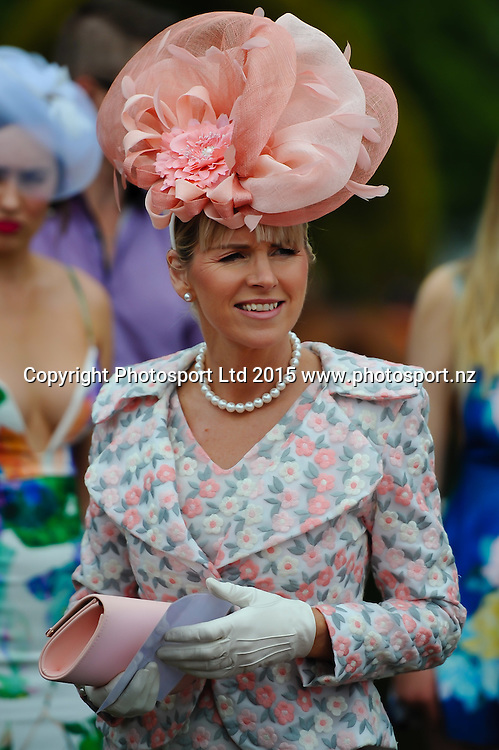 Contestant in the best dress female during the New Zealand Cup Meeting at Riccarton Park, Christchurch. 14th November 2015. Copyright Photo: John Davidson / www.photosport.nz