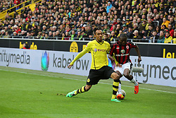 15.02.2014, Signal Iduna Park, Dortmund, GER, 1. FBL, Borussia Dortmund vs Eintracht Frankfurt, 21. Runde, im Bild Pierre-Emerick Aubameyang (Borussia Dortmund #17) im Zweikampf gegen Constant Djakpa (Eintracht Frankfurt #15), Aktion, Action // during the German Bundesliga 21th round match between Borussia Dortmund and Eintracht Frankfurt at the Signal Iduna Park in Dortmund, Germany on 2014/02/15. EXPA Pictures © 2014, PhotoCredit: EXPA/ Eibner-Pressefoto/ Schueler<br /> <br /> *****ATTENTION - OUT of GER*****