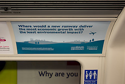 "© Licensed to London News Pictures . 06/04/2014 . London , UK . An advertisement by the "" Gatwick Obviously "" campaign , on a London Tube train , advocating for an additional runway at Gatwick Airport today (6th April 2014) as the Mayor of London , Boris Johnson , has proposed transforming the current Heathrow Airport site in to a new garden city as part of a wider plan - dubbed "" Boris Island "" - to build a new airport for the city , in the Thames Estuary. Various plans are to being considered in a bid to increase capacity within London's airport network . Photo credit : Joel Goodman/LNP"