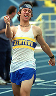 Ryan Ignatius, a junior at Newtown High School, reacts after finishing second in the 800 meter event Friday afternoon at Newtown High.  Ignatius finished second to fellow teammate Joe Blanchard