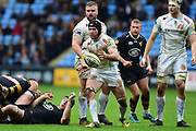 Exeter Chiefs lock Mitch Lees  spins out a pass during the Aviva Premiership match between Wasps and Exeter Chiefs at the Ricoh Arena, Coventry, England on 18 February 2018. Picture by Dennis Goodwin.