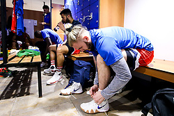 Jordan Nicholls of Bristol Flyers in the changing room - Photo mandatory by-line: Robbie Stephenson/JMP - 29/03/2019 - BASKETBALL - English Institute of Sport - Sheffield, England - Sheffield Sharks v Bristol Flyers - British Basketball League Championship