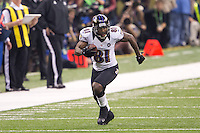 3 February 2013: Wide receiver (81) Anquan Boldin of the Baltimore Ravens catches a pass and runs for a first down against the San Francisco 49ers during the second half of the Ravens 34-31 victory over the 49ers in Superbowl XLVII at the Mercedes-Benz Superdome in New Orleans, LA.