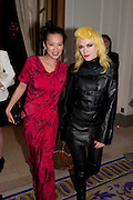 ROSEY CHAN; PAM HOGG, Liberatum 10th Anniversary dinner in honour of Sir Peter Blake. Hosted by Pable Ganguli and Ella Krasner. The Corinthia Hotel, Whitehall. London. 23 November 2011.
