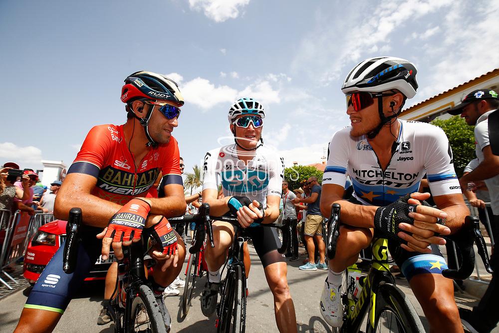 Start, Vincenzo Nibali (ITA - Bahrain - Merida), Salvatore Puccio (ITA - Team Sky), Matteo Trentin (ITA - Mitchelton - Scott) during the UCI World Tour, Tour of Spain (Vuelta) 2018, Stage 6, Huercal Overa - San Javier Mar Menor 155,7 km in Spain, on August 30th, 2018 - Photo Luca Bettini / BettiniPhoto / ProSportsImages / DPPI
