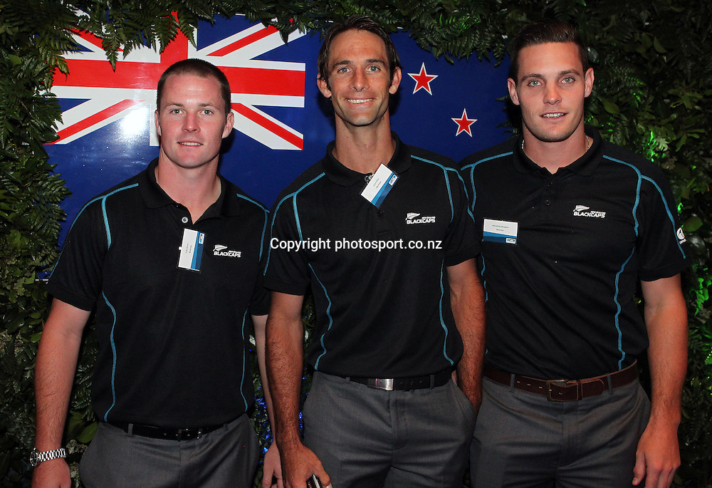 Black Caps from left Colin Munroe, Grant Elliot and Mitchell McClenaghan at the ANZ International Cricket Series Launch at Bellini, Hilton Hotel Auckland, 7 February 2013