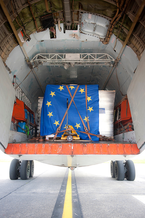 Ostende, Belgium 12 May 2012.Members of ECES (European Centre for Electoral Support) load electoral material onto an Antonov aircraft for the upcoming local council elections in Benghazi, Libya..Photo: Ezequiel Scagnetti