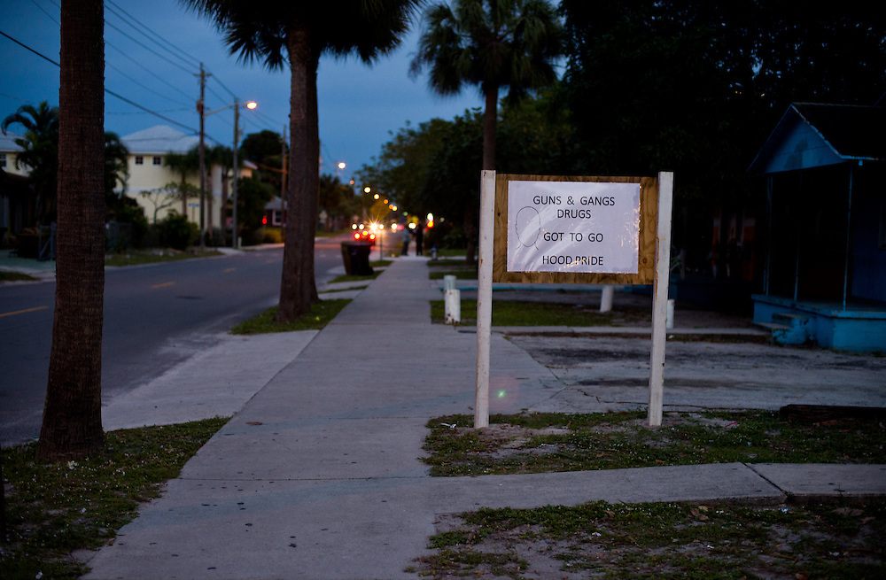 "Claudius ""Lucky"" Taylor Jr. posted a sign advocating for ""hood pride"" in front of his rental properties and business, Taylor's Grocery at 610 S.E. 10th St., as seen Jan. 12, 2016, in East Stuart. (XAVIER MASCAREÑAS/TREASURE COAST NEWSPAPERS)"