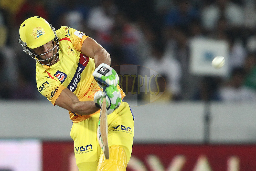 Francois Du Plessis of the Chennai Super Kings hist over the top for six during the second semi final match of the Oppo Champions League Twenty20 between the Kings XI Punjab and the Chennai Superkings held at the Rajiv Gandhi Cricket Stadium, Hyderabad, India on the 2nd October 2014<br /> <br /> Photo by:  Shaun Roy / Sportzpics/ CLT20<br /> <br /> <br /> Image use is subject to the terms and conditions as laid out by the BCCI/ CLT20.  The terms and conditions can be downloaded here:<br /> <br /> http://sportzpics.photoshelter.com/gallery/CLT20-Image-Terms-and-Conditions-2014/G0000IfNJn535VPU/C0000QhhKadWcjYs