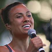 Philadelphia native and keyboardist Amel Larrieux performs in front of a large crowd at the 26th annual duPont Clifford Brown Jazz Festival Friday, June 20, 2014, at Rodney Square Park in Wilmington, DEL.    <br /> <br /> &ldquo;The Clifford Brown Jazz Festival is a staple of Wilmington&rsquo;s performing arts culture,&rdquo; said Mayor Dennis P. Williams. &ldquo;The City is excited to celebrate the 26th anniversary and I hope the community gets involved and enjoys all of the many activities the festival has to offer.&rdquo;<br /> <br /> The Clifford Brown Jazz festival is the largest FREE out door music event on the east coast of the United States.