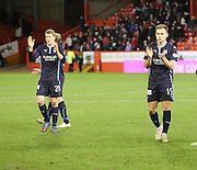 Jim McAlister and Greg Stewart applaud the Dundee fans at the end of the game -  Aberdeen v Dundee, SPFL Premiership at Pittodrie<br />
