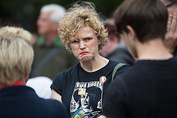 © Licensed to London News Pictures . 14/08/2016 . Manchester , UK . MAXINE PEAKE talking to crowds at the event . A memorial on the site of The Peterloo Massacre ( formerly St Peter's Field , now the Manchester Central Convention Centre ) , attended by Maxine Peake and Paul Mason . On 16th August 1819 , a rally calling for Parliamentary reform , improved workers rights and against poverty was brutally suppressed by sabre-wielding cavalrymen , resulting in the deaths of fifteen people and many hundreds injured . Photo credit : Joel Goodman/LNP