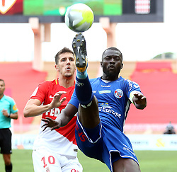 FONTVIEILLE, Sept. 17, 2017  Stevan Jovetic (L) of Monaco competes with Kader Mangane (R) of Strasbourg during their match of French Ligue 1 in Fontvieille, Monaco on Sept. 16, 2017. Monaco won 3-0. (Credit Image: © Serge Haouzi/Xinhua via ZUMA Wire)