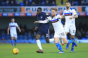 Callum Camps battles for the ball during the EFL Sky Bet League 1 match between Southend United and Rochdale at Roots Hall, Southend, England on 22 December 2018.