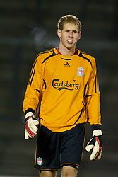 WARRINGTON, ENGLAND - Saturday, March 1, 2008: Liverpool's goalkeeper Dean Bouzanis in action against Bolton Wanderers during the FA Premiership Reserves League (Northern Division) match at the Halliwell Jones Stadium. (Photo by David Rawcliffe/Propaganda)