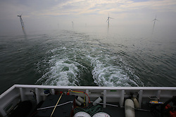 UK ENGLAND NORFOLK SHERINGHAM SHOAL 25SEP13 - Stern wake of the Tia Elizabeth vessel at the Sheringham Shoal wind farm in the North Sea off the Norfolk coast, England.<br /> <br /> jre/Photo by Jiri Rezac<br /> <br /> © Jiri Rezac 2013