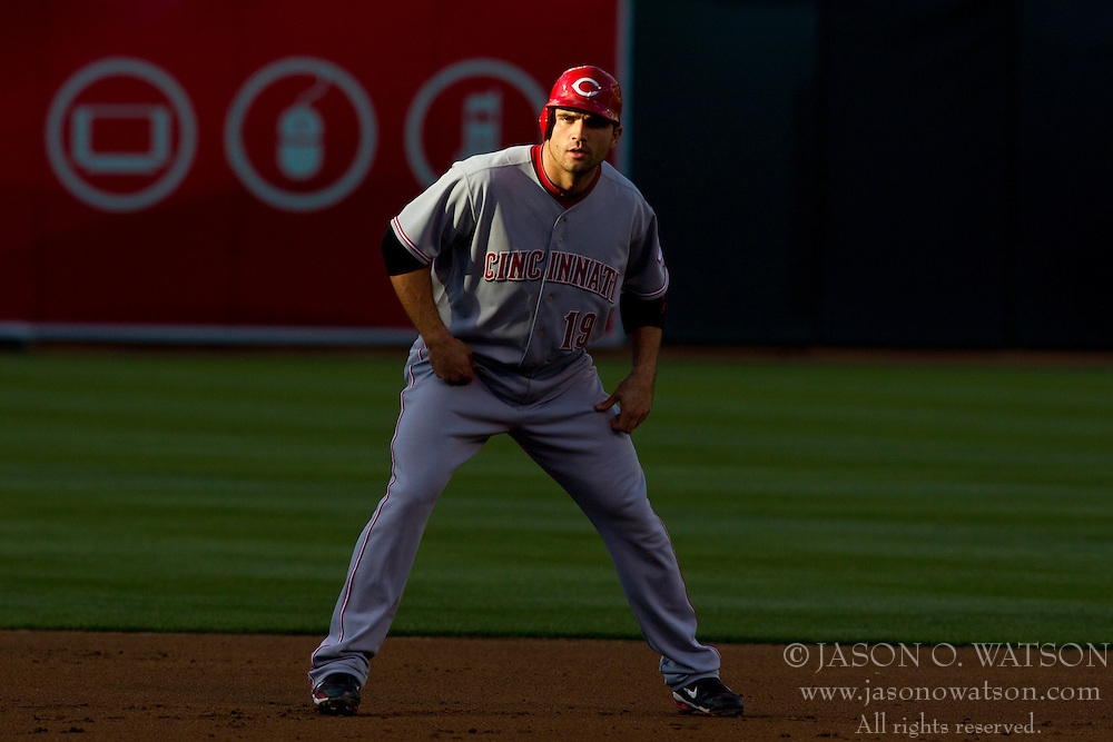 June 21, 2010; Oakland, CA, USA;  Cincinnati Reds first baseman Joey Votto (19) leads off second base against the Oakland Athletics during the first inning at Oakland-Alameda County Coliseum.  Cincinnati defeated Oakland 6-4 in 10 innings.