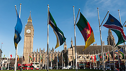 © Licensed to London News Pictures. 14/03/2016. London, UK. Flags of the Commonwealth flutter in the wind in Parliament Square today on Commonwealth Day.  This year's theme celebrates the diversity of the Commonwealth, which is made up of more than two billion people.  The Commonwealth Charter asserts that everyone is equal and deserves to be treated fairly, whether they are rich or poor, without regard to their race, age, gender, belief or other identity. Photo credit : Stephen Chung/LNP
