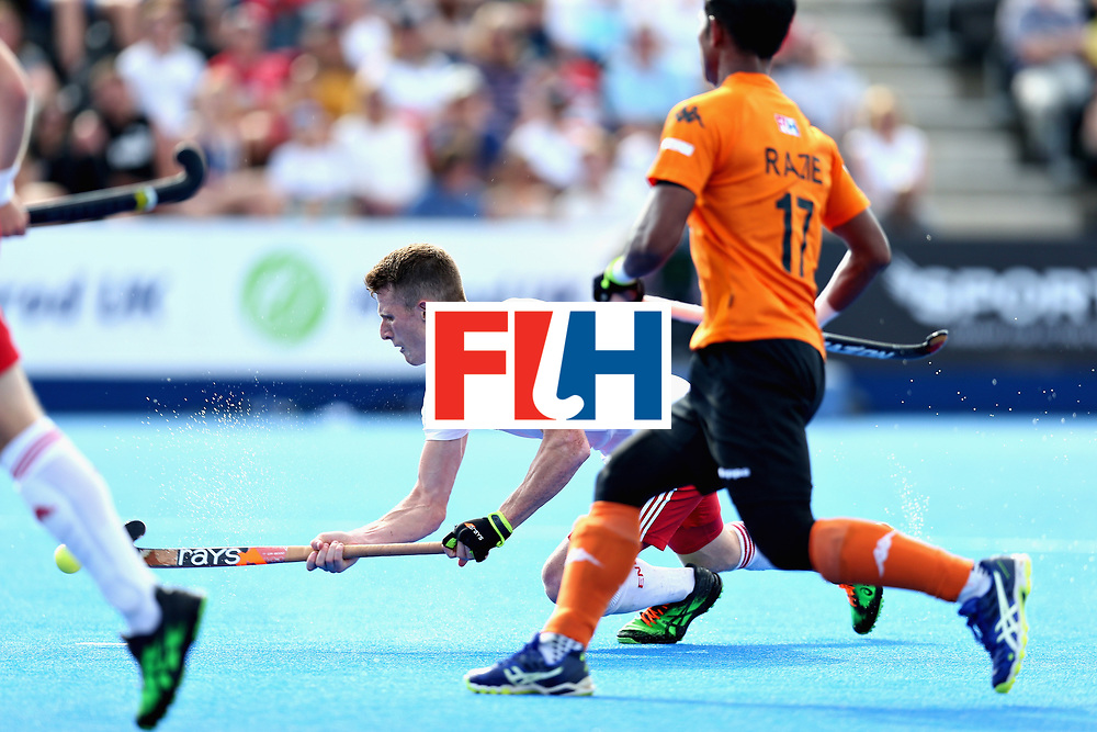 LONDON, ENGLAND - JUNE 17: Sam Ward of England scores the sixth goal for England during the Hero Hockey World League Semi Final match between England and Malaysia at Lee Valley Hockey and Tennis Centre on June 17, 2017 in London, England.  (Photo by Alex Morton/Getty Images)