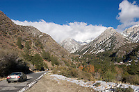 Car Driving Toward Mount Baldy Ski Village in Winter, Angeles National Forest, California
