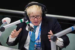 © Licensed to London News Pictures . 07/10/2015 . Manchester , UK . London Mayor , BORIS JOHNSON , on LBC radio this morning (weds 7th October 2015) . The Conservative Party Conference at the Manchester Central Convention Centre . Photo credit : Joel Goodman/LNP
