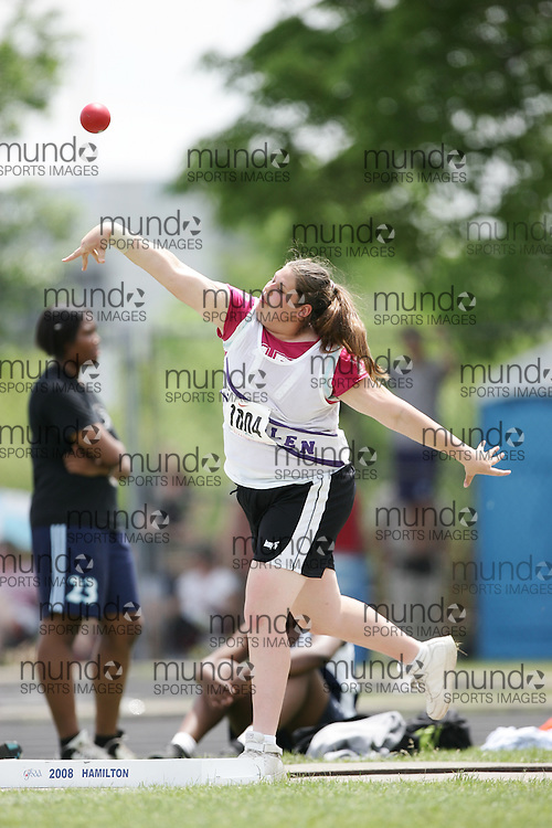 London, Ontario ---07/06/08--- Chantal Scherbak of LoinEllen Park in Sudbury competes in the shot put at the 2008 OFSAA Track and Field meet in Hamilton, Ontario..GEOFF ROBINS