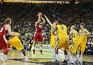 January 19 2013: Wisconsin Badgers guard Traevon Jackson (12) puts up a shot during the second half of the NCAA basketball game between the Wisconsin Badgers and the Iowa Hawkeyes at Carver-Hawkeye Arena in Iowa City, Iowa on Sautrday January 19 2013. Iowa defeated Wisconsin 70-66.