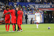 Fekir Nabil of Lyon and Balotelli Mario of Nice and Costa Santos Dante of Nice and Cyprien Wylan of Nice and Letexier Francois Referee during the French championship L1 football match between Olympique Lyonnais and Amiens on August 12th, 2018 at Groupama stadium in Decines Charpieu near Lyon, France - Photo Romain Biard / Isports / ProSportsImages / DPPI