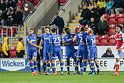 The Leeds players celebrate going 2-0 up in the final minute of injury time of the first half during the EFL Sky Bet Championship match between Rotherham United and Leeds United at the New York Stadium, Rotherham, England on 26 November 2016. Photo by Mark P Doherty.